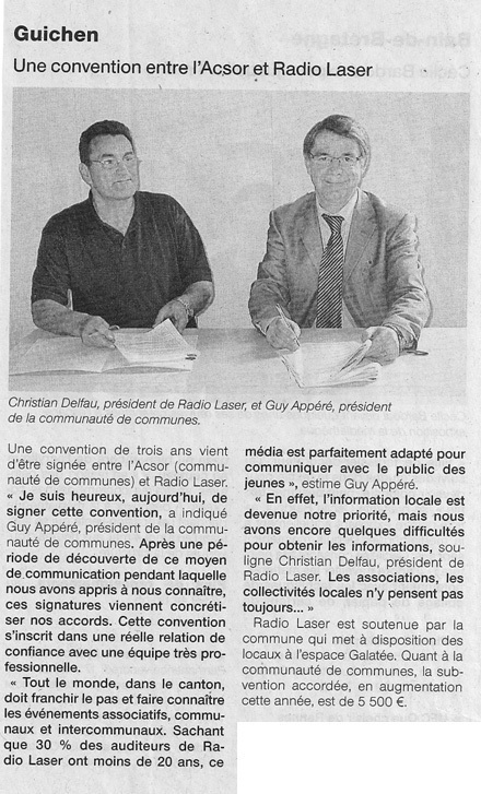 Article de Ouest-France du 15 avril 2009.