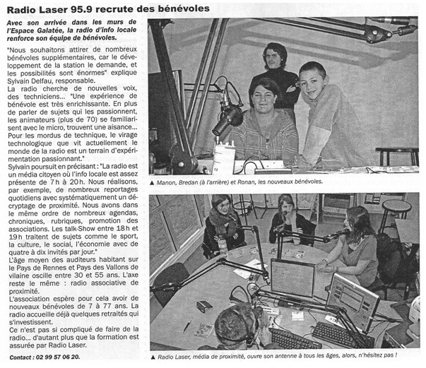 Article du journal municipal de Guichen/Pont-Réan