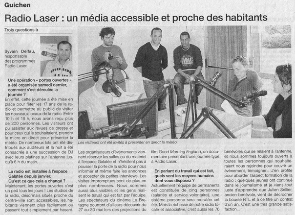 Article de Ouest-France en mai 2009.