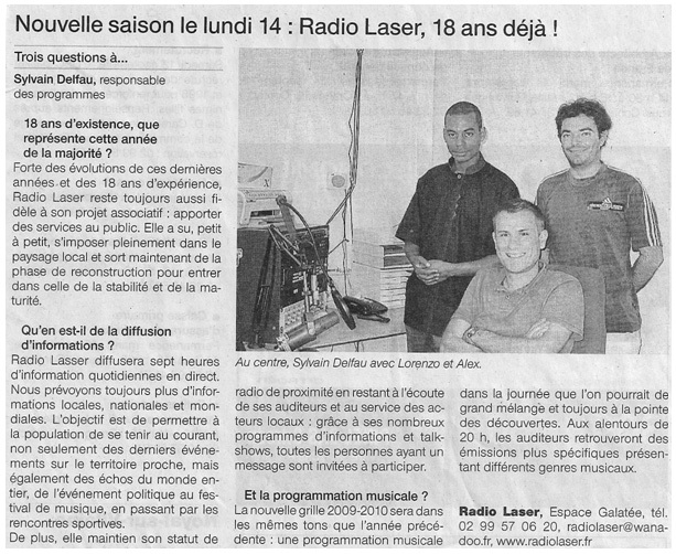 Article de Ouest-France le 13 septembre 2009.