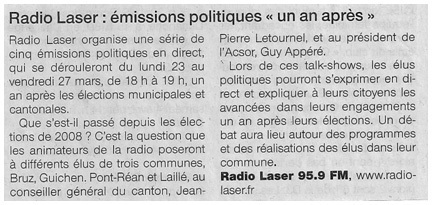 Article de Ouest-France le 20 mars 2009.